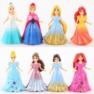 8Pcs/Set Princess Dolls With Magic Clip Dress Toys Kids Birthday Xmas Gift Newly