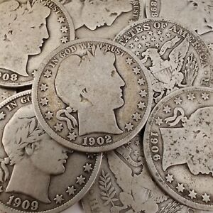 Barber Half Dollars - 90% Silver Coins - Circulated - You Choose How Many!
