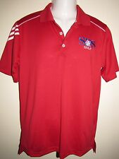 Adidas Golf Polo Shirt ClimaCool Red Size Small Three White Stripes On Shoulder