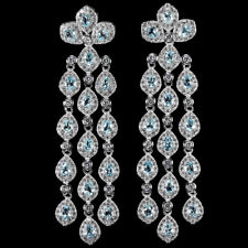 65X15 MM DAZZLING GENUINE SKY BLUE TOPAZ & WHITE CZ STERLING 925 SILVER EARRING