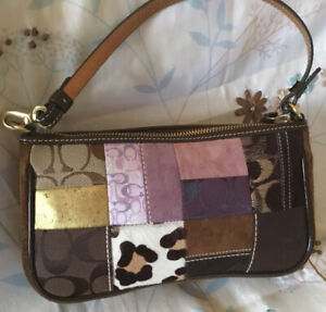 Coach Leather Suede Limited Edition Holiday Patchwork Demi Purse Handbag Bag