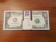 50 One Dollar Bills $1 US Money 1/2 BEP Bundle 2017 New Notes Consecutive