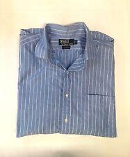 Mens Polo Ralph Lauren Long Sleeve Button up Blue Striped Shirt Size 17(34-35)