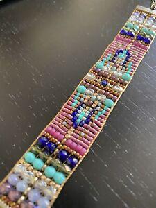 Antique Brass Amethyst Turquoise czech wide beaded bracelet Sundance Inspired