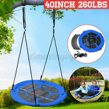 40'' Tree Swing Kids Round Rotate Seat Outdoor Hanging Rope Tire Flying Saucer