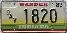 GENUINE Indiana Wander Disabled  American Vet License Licence Number Plate 1820