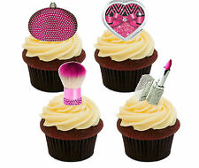 Pink & Silver Make-up Edible Cup Cake Toppers, Standup Fairy Decorations, Girl