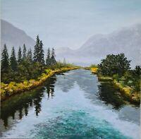 Ölbild Ölgemälde Unikat handgemalt  Fluss Nebel Herbst Romantik 20x20cm + Rahmen