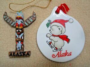 2 VIntage ALASKA Christmas Ornaments / Porcelain & Wooden Totempole