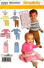 Simplicity Sewing Pattern Babies Pants Skirt Bibs Knit Bodysuit Bunting 2291