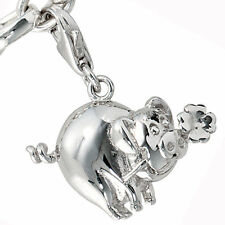 Einhänger Charm Glücksschwein 925 Sterling Silber Rhodiniert
