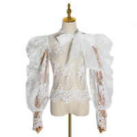 2019-20 Womens Designer Inspired  Embroidery High Neck Mesh Blouse Shirt Top