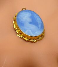 EXQUISITE MARKED ANTIQUE 18K /750 BLUE CAMEO PENDANT