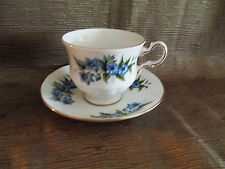 Queen Anne Bone China Tea Cup and Saucer Set Blue Flowers and Gold Trim 8565