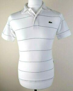 Mens Lacoste Sport Polo Shirt White Navy thin Stripe Size S *Exclusive* 9-788