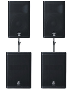 2x Yamaha DXR12 Speakers & 2x DXS12 Subwoofers & Soundcraft Spirit E8 Mixer.