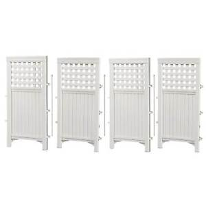 Suncast FS4423 Outdoor Garden Yard 4 Panel Screen Enclosure Gated Fence, White