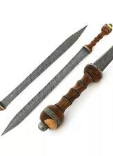 Handmade Damascus Steel  Gladius Sword Knife Full Tang