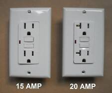 15A 20A A GFI GFCI WALL RECEPTACLE BROWN BLACK GRAY ALMOND IVORY WHITE LED LIGHT