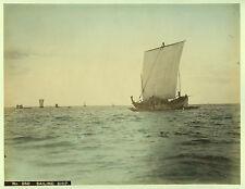 c.1890 JAPAN SAILING SHIP SHIPS GENUINE ANTIQUE ALBUMEN PHOTOGRAPH