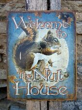 Funny Metal Sign Welcome To The Nut House Home Wall Decor Family Comedy Gift USA