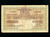 Cyprus:P-23,10 Shillings,1942 * King George VI * RARE *