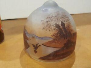 Vintage Glass  Hand Painted Lamp Shade Windmill, Ducks Trees sunrise
