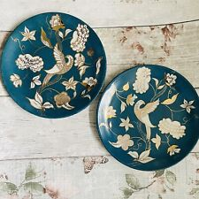 More details for 2 x beautiful blue plates with bird pattern kb priestley 8.25