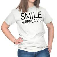 Happy Emoji Smile Repeat Women Shirts Funny Sayings Cute Gift T Shirt Tee