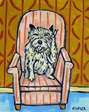 Cairn Terrier talking on a Cell phone 8x10 dog art artwork print
