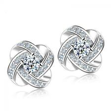 Lady Zircon Crystal Diamond Ear Stud Rhinestone Earring Silver Plated