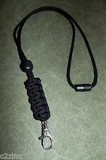 Solid Black US Paracord Lanyard w/ Breakaway and Ball lock By Casey's Creations