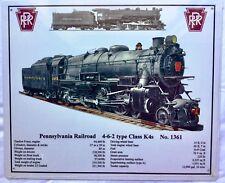 "TIN SIGN "" PENNSYLVANIA  RAILROAD SPECS ""  for K-4 #1361 Locomotive PRR TIN SIGN"