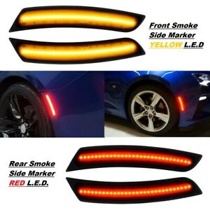 For 2016-2021 Chevy Camaro Front & Rear LED Side Bumper Marker Smoked Lens 4Pcs