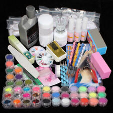42 Acrylic Powder Liquid Brush Glitter Clipper Primer File Nail Art Tips Set Kit