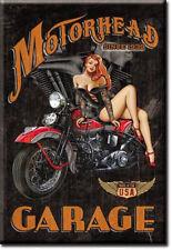 "2"" X 3"" Metal Sign Refrigerator Magnet Motorhead Garage Redhead Girl Motorcycle"