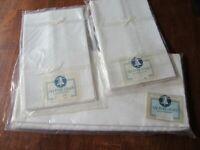 """Vntg Czech Linen Damask 64""""x84"""" Tablecloth 8 Napkins 20""""x20"""" Ivory Unused"""