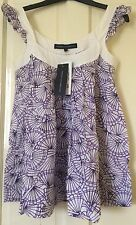 French Connection Purple White Floral Top Size 6 NEW
