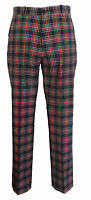Mens Navy/Red Tartan 60S 70S Retro Mod Vintage Sta Press Trousers