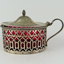 ANTIQUE RODEN BROS. CRANBERRY GLASS STERLING SILVER CONDIMENT JAR MUSTARD POT