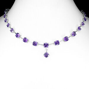 Unheated Cushion Amethyst 7mm White Gold Plate 925 Sterling Silver Necklace 20.5