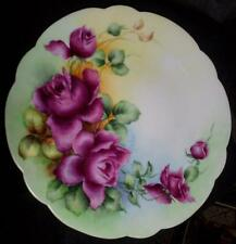 "Beautiful DC Limoges France 9 1/4"" Handpainted Rose Plate Signed Carlson LOOK HL"