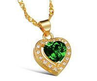 18K gold GP Austrian Crystal green love Heart Necklace bride Pendant N277b