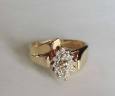 Ladies Marquise Style Cluster Ring w/ 15 Round Diamonds - 14k Yellow Gold