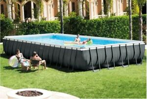 Swimming Pool Set with Sand Filter Pump, Ladder, Cover, & Maintenance Kit