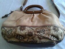 Vintage Large Fossil Purse Handbag Tote Bag Straw Look Weave Floral Leather Trim