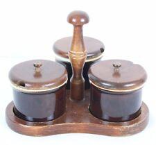 "Vtg Wooden Ceramic Rustic Condiment Set 3 Pots w Lids and Holder Appx 2.5 x 3"""