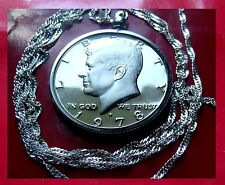 "Birthyear 1978 Proof Kennedy 50c Pendant on a 28"" 925 Silver Twisted Wavy Chain"