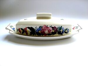 Kispest Large Ivory Ceramic Butter Dish Hand Painted Flowers in Hungary 674