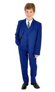 Jungenanzug Kinderanzug Kommunionsanzug Anzug Taufanzug uni royalblau 4 teilig
